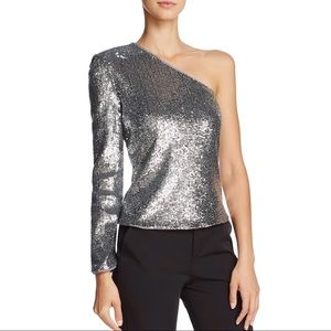 Bardot Sequin One Shoulder Top Silver Long Sleeve